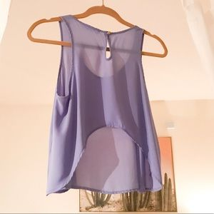Crop Purple Tank with Gold Button Clasp